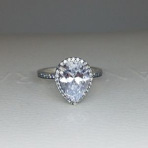 New Pandora Radiant Teardrop Clear CZ Ring #196251